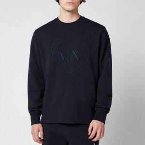 Armani Exchange Men's Circle Ax Logo Sweatshirt - Deep Navy - M 3kzmlizjy6z1583 General Clothing, Blue