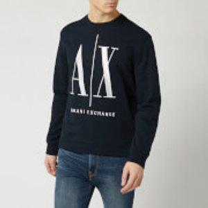 Armani Exchange Men's Large Ax Logo Sweatshirt - Navy - Xxl 8nzmpa Zj1zz Mens Tops, Blue