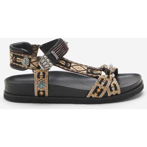 Ash Women's Ugo Ethnic Ribbon Sandals - Black - Uk 7 Ss21 M 134745 002 Mens Footwear, Black