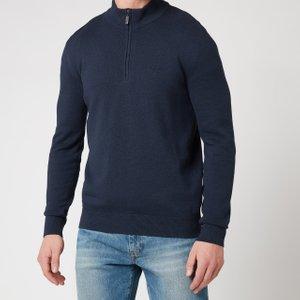 Barbour Tartan Men's Avoch Half Zip Knit Jumper - Navy - Xxl Mkn1222ny72 Mens Clothing, Blue