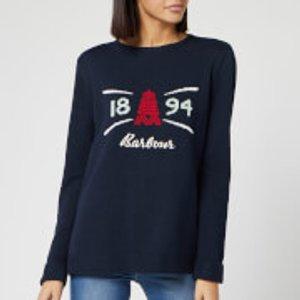 Barbour Women's Shoreside Knitted Jumper - Navy - Uk 8 Lkn0986ny73 Womens Clothing, Blue