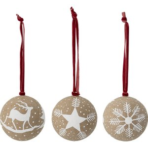 Bloomingville Paper Christmas Bauble - Set Of 3 82048706 Home Accessories