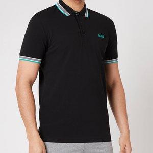 Boss Athleisure Men's Paddy Pique Polo Shirt - Black/green - Xl 50398302 Mens Tops, Black