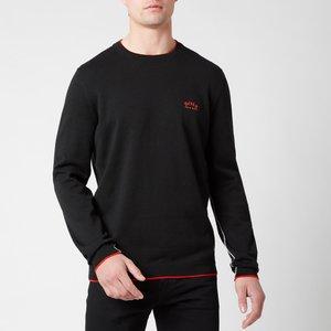 Boss Athleisure Men's Riston Contrast Piping Crew Neck Sweatshirt - Black - Xl 50440679 002 Mens Tops, Black