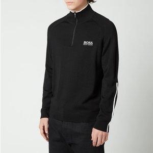 Boss Athleisure Men's Zenno Zip-neck Contrast Detailing Sweatshirt - Black - L 50446988 001 Mens Tops, Black