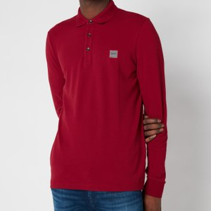 Boss Casual Men's Passerby Long Sleeve Polo Shirt - Dark Red - M 50387465 Mens Tops, Red