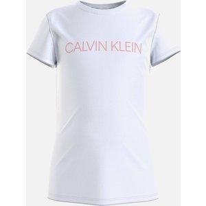Calvin Klein Jeans Girl's Institutional Slim T-shirt - White/sand Rose - 10 Years Ig0ig003800la Childrens Clothing, White