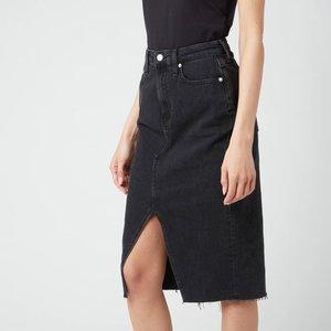Calvin Klein Jeans Women's High Rise Midi Skirt - Denim Black - W29 J20j2159231by Womens Dresses & Skirts, Black