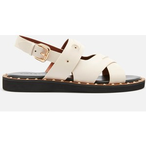 Coach Women's Gemma Leather Flat Sandals - Chalk - Uk 6 C4376 Chk Mens Footwear, White