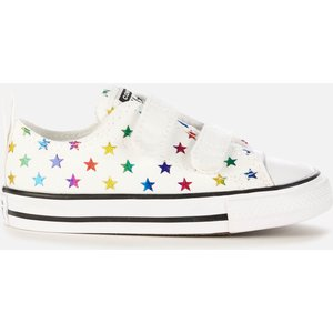 Converse Toddlers' Chuck Taylor All Star Velcro Archive Foil Star Print Ox Trainers - Foil 770688c Childrens Footwear, Multi