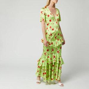De La Vali Women's Juliette Silk Satin Dress - Green Rose - Uk 6 Ss20 D1006 A Womens Dresses & Skirts, Green
