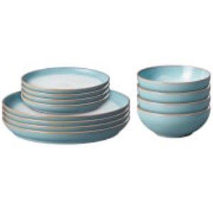 Denby Azure Haze 12 Piece Coupe Tableware Set 123043958 Kitchen, Blue