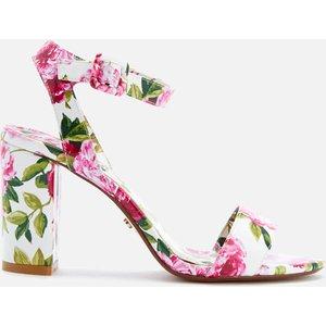 Dune Women's Marygold Peony Printed Patent Block Heeled Sandals - White - Uk 3 - White Womens Footwear, White