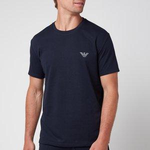 Emporio Armani Men's All Over Logo Terry Crew Neck T-shirt - Blue - L 110853 1p566 00135 Mens Tops, Blue