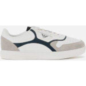 Emporio Armani Men's Suede/mesh Running Style Trainers - Plaster/white/midnight - Uk 11 X4x290 Xm222 K087 Mens Footwear, Grey