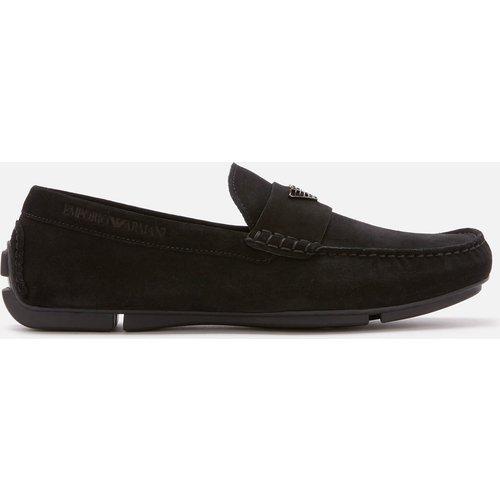 Emporio Armani Men's Zinos Suede Driver Shoes - Black - Uk 8 - Black X4b124 Xf188 00002 Mens Footwear