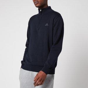 Gant Men's Classic Cotton Half Zip Jumper - Evening Blue - L 8030545433 General Clothing, Blue