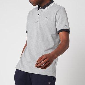 Gant Men's Tech Prep Pique Polo Shirt - Grey Melange - S 2012063093 General Clothing, Grey