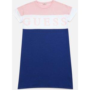 Guess Girls' 3/4 Sleeve Logo Dress - Pink/white Multi - 16 Years J1rk36 Childrens Clothing, Multi
