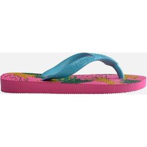 Havaianas Girls' Top Fashion Flip Flops - Pink Flux - Uk 2-3 Kids 4144319.578 Childrens Footwear, Pink
