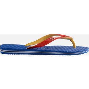Havaianas Kids' Brasil Logo Flip Flops - Blue/red - Uk 2-3 Kids 4123206.957 Childrens Footwear, Blue