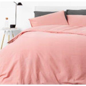 In Homeware Washed Cotton Duvet Set - Blush (cn) - Single (cn) China Size 21 Home Textiles