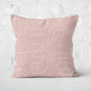 In Homeware X Polly Sayer Faces Square Cushion - 40x40cm - Soft Touch Cu 41445 40x40 St Home Accessories