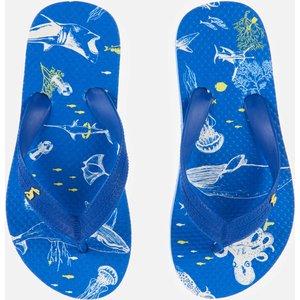 Joules Kids' Flip Flops - Blue Sea Animals - Uk 9 Kids 212704 Blusea Childrens Footwear, Blue