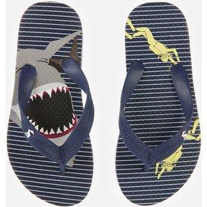 Joules Kids' Flip Flops - Blue Stripe Shark - Uk 9 Kids 212704 Blustrpshk Childrens Footwear, Blue