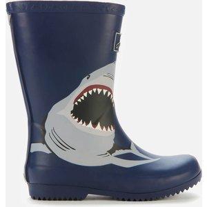 Joules Kids' Roll Up Wellies - Navy Shark - Uk 10 Kids 212700 Nvyshrk Childrens Footwear, Blue