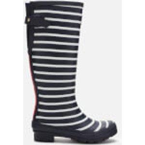 Joules Women's Welly Print Back Adjustable Tall Wellies - Cream Blue Stripe - Uk 8 202844 Fnavstp Womens Footwear, Blue