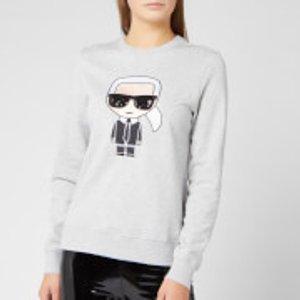 Karl Lagerfeld Women's Ikonik Karl Sweatshirt - Grey Melange - L 96kw1823 255 Womens Tops, Grey