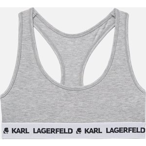Karl Lagerfeld Women's Logo Bralette - Grey Melange - Xs 211w2102 Bras, Grey
