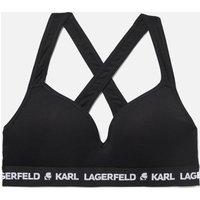 Karl Lagerfeld Women's Padded Logo Bra - Black - S 211w2109 Bras, Black