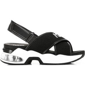 Karl Lagerfeld Women's Ventura Karl X-strap Sling Sandals - Black Knit Textile - Eu 38/uk  Kl61705 K01 Womens Footwear, Black