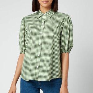 Kate Spade New York Women's Mini Gingham Button Up Shirt - Courtyard - Uk 12 Njm00282 305 General Clothing, Green