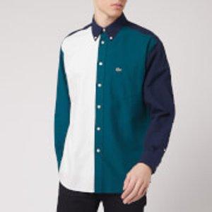 Lacoste Men's Colour Block Shirt - Navy Green/off White - S/38 Ch6343 00 Mens Tops, Multi