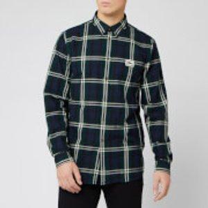 Lacoste Men's Large Check Long Sleeve Shirt - Sabler - L/eu 41 Ch0112 00 Mens Tops, Green