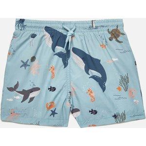 Liewood Boys' Duke Board Shorts - Sea Creature Mix - 4-5 Years Lw14118 Childrens Clothing, Blue