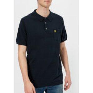 Lyle & Scott Men's Short Sleeve Textured Knitted Polo Shirt - Dark Navy - M - Navy Kn806v Z271 Mens Tops, Navy