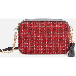 Michael Michael Kors Women's Jet Set Checkered Tweed Medium Camera Bag - Bright Red 32h0gj6m2c683 Womens Accessories, Red