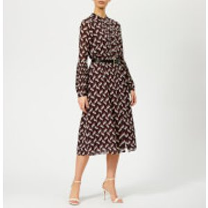 Michael Michael Kors Women's Midi Dress With Belt - Cordovan - M - Burgundy Mh88y9fafz Womens Dresses & Skirts