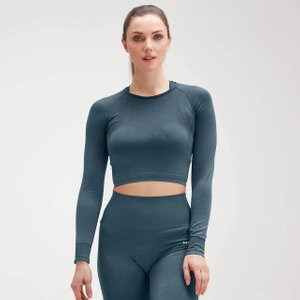 Mp Women's Shape Seamless Ultra Long Sleeve Crop Top - Deep Sea Blue - S Mpw265deepseablue Mens Tops, Blue