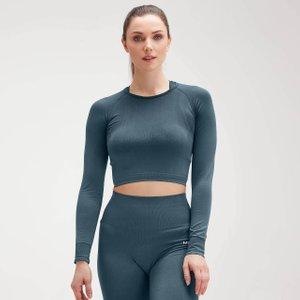 Mp Women's Shape Seamless Ultra Long Sleeve Crop Top - Deep Sea Blue - Xxs Mpw265deepseablue Mens Tops, Blue