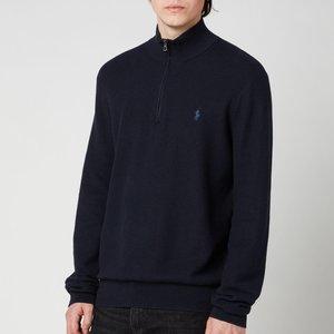 Polo Ralph Lauren Men's Cotton Quarter Zip Jumper - Navy Heather - S 710701611012 General Clothing, Blue
