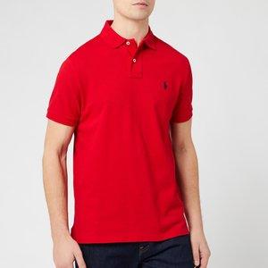 Polo Ralph Lauren Men's Custom Slim Fit Mesh Polo Shirt - Red - S - Red 710666998003 Mens Tops, Red