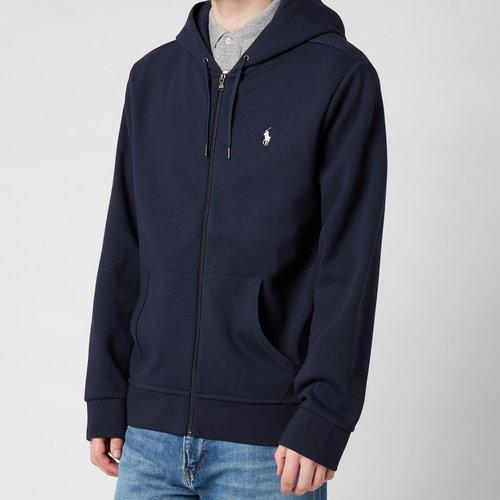 Polo Ralph Lauren Men's Double Knitted Zip-through Hoodie - Aviator Navy - M 710652313008 Mens Tops, Blue
