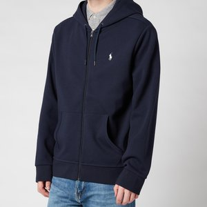 Polo Ralph Lauren Men's Double Knit Full Zip Hoodie - Aviator Navy - S 710652313008 Mens Tops, Blue