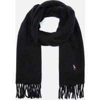Polo Ralph Lauren Men's Fringed Virgin Wool Scarf - Black 449727530001 Mens Accessories, Black