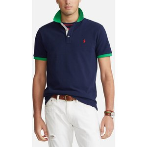 Polo Ralph Lauren Men's Mesh Knit Contrast Collar Polo Shirt - French Navy - Xxl 710823421001 Mens Tops, Blue